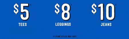 $5 Tees, $8 Leggings, $10 Jeans at Crazy 8