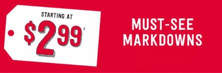 Must-See Markdowns Starting at $2.99