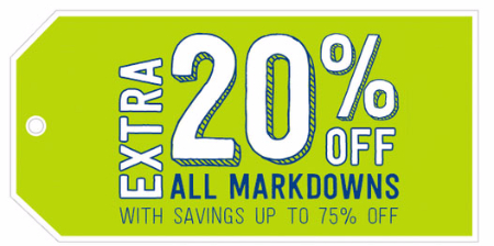 Extra 20% Off All Markdowns at crazy 8