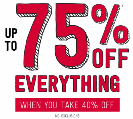 Up to 75% Off Entire Purchase