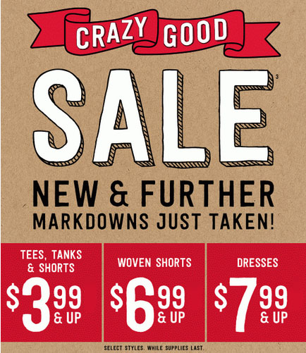 Crazy Good Sale at Crazy 8