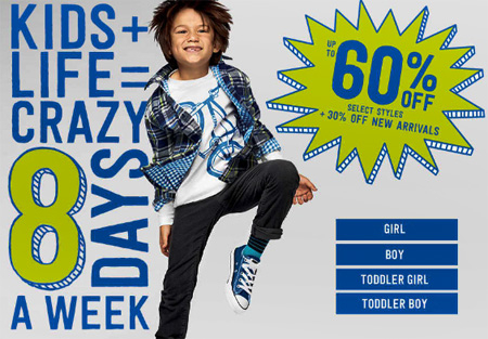 Up to 60% Off Select Styles at Crazy 8