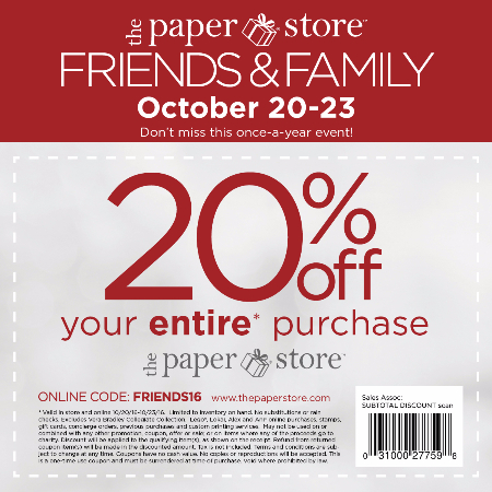 The Paper Store: Friends & Family 2016