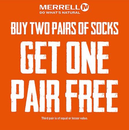 Buy Two Pairs of Socks Get One Free