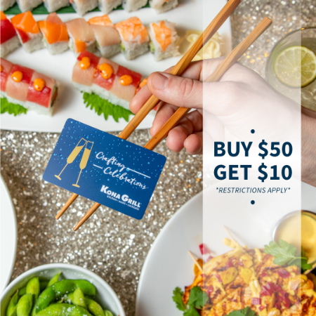 Kona Gift Card Sale - Buy $50, Get $10 from Kona Grill