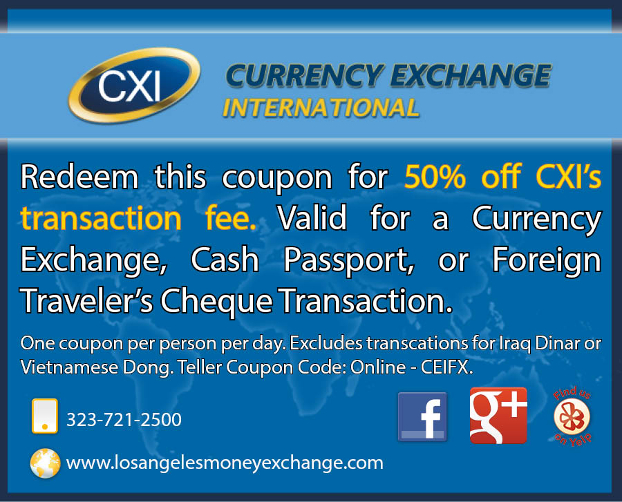 50% OFF CXI's Transaction Fee