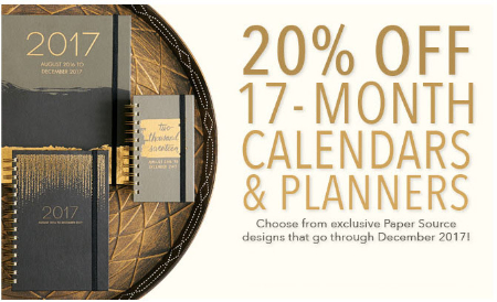 20% Off 17-Month Calendars & Planners