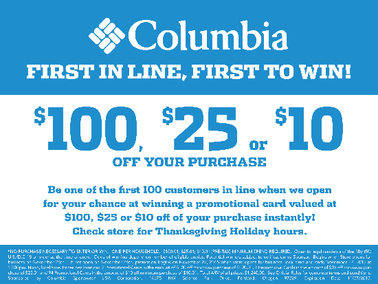 Columbia Sportswear 1st In Line, 1st To Win!