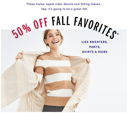 50% Off Fall Favorites