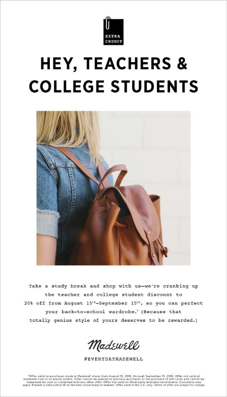 College Students and Teachers Discount cranked up to 20% from August 15th - September 15th