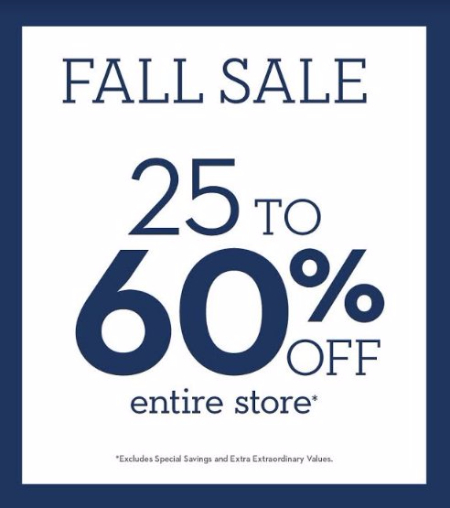Fall Sale 25 to 60% Off