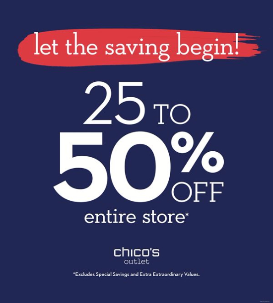 Let the Savings Begin 30% - 50% off entire store*