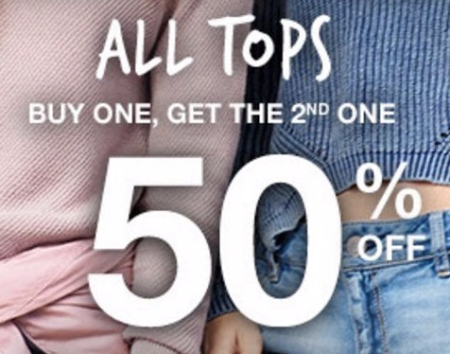 BOGO 50% Off All Tops