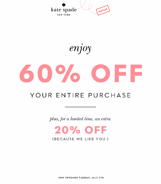 60% Off Entire Purchase! Plus extra 20%