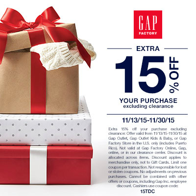 Gap Factory Extra 15% off your purchase excluding clearance