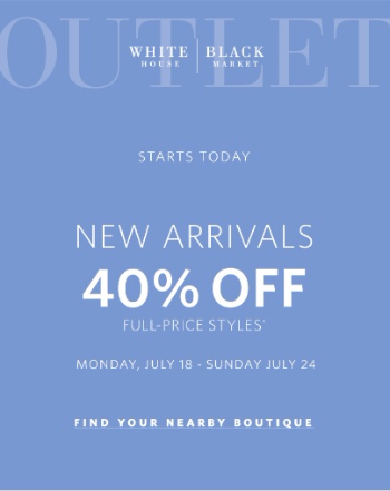 New Arrivals! 40% Off All Full-Price Styles.