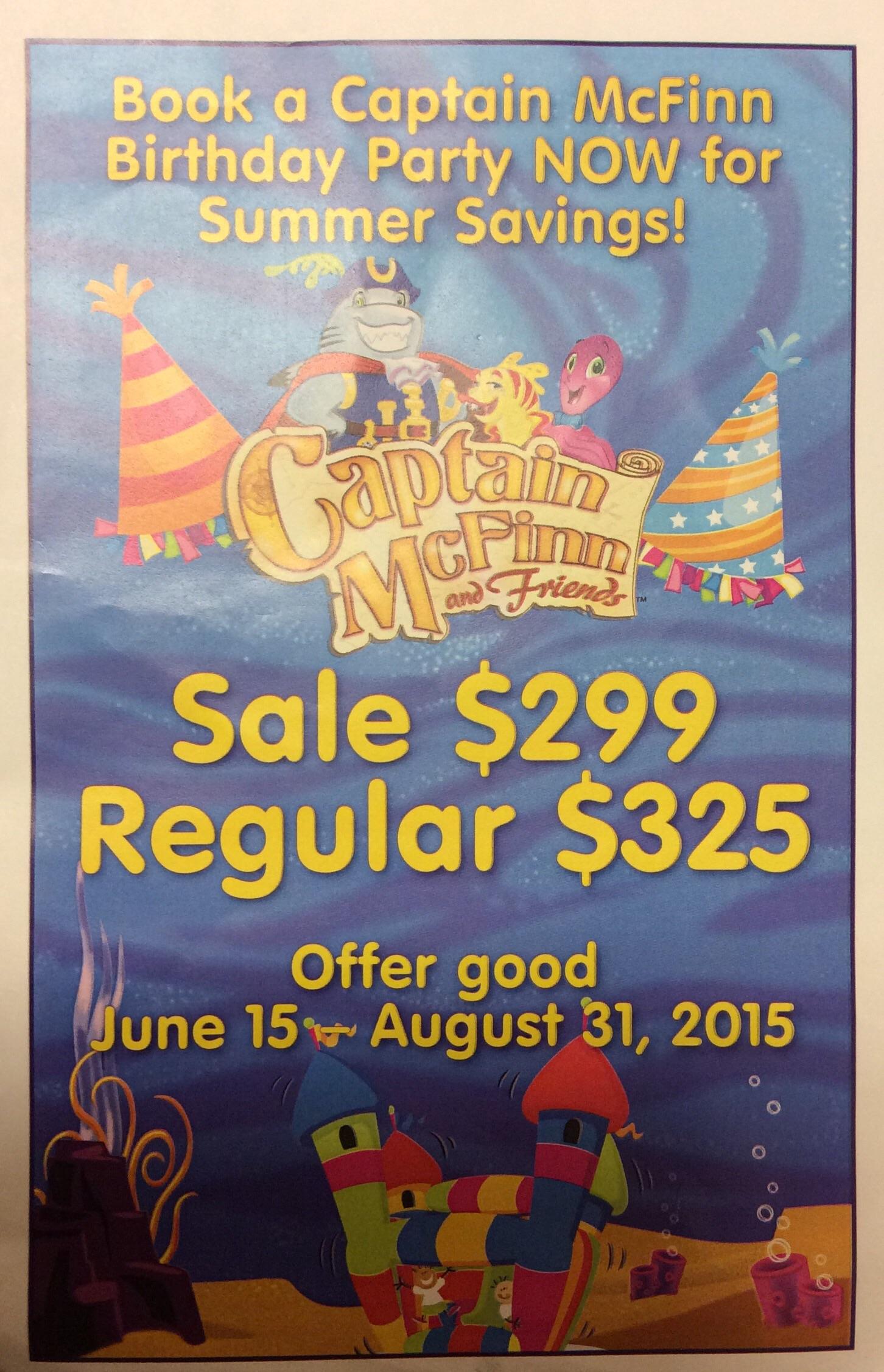 Captain McFinn Birthday Party Summer Savings at Captain McFinn Gift Shop
