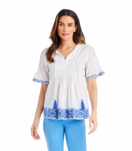 Cecil Embroidered Blouse at J.McLaughlin