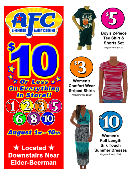 $10 or Less on Everything in Store at Affordable Family Clothing (AFC)