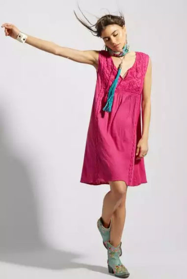 Gisola Tonal Embroidered Linen Jersey Knit Dress at Calypso St. Barth