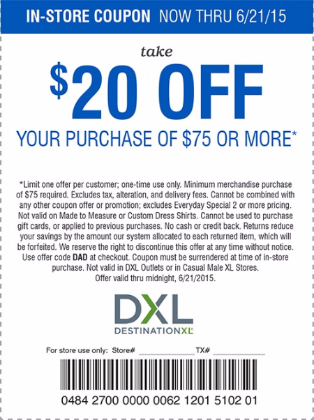 Dxl coupon code 2018 in store