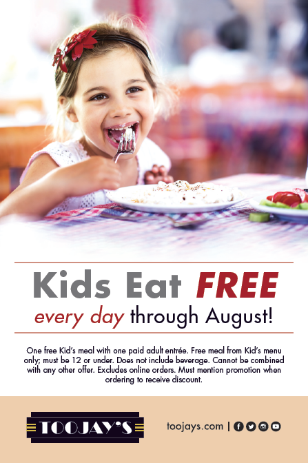 When All Kids Eat For Free >> Palm Beach Outlets Kids Eat Free At Toojay S Every Day