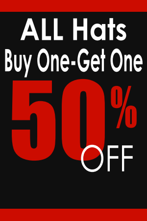 Buy One, Get One 50% Off ALL Hats!
