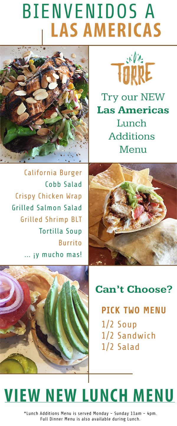 Las Americas Lunch Additions Menu