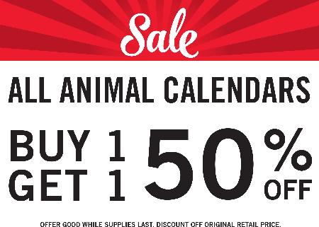 BOGO Animal Calendars 50% OFF