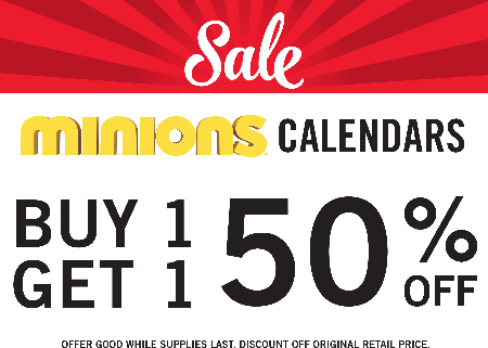 BOGO Minion Calendars 50% OFF