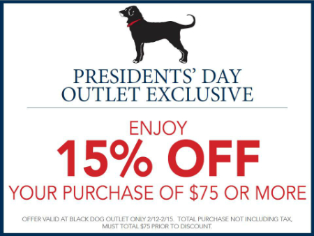 Presidents' Day Outlet Exclusive!