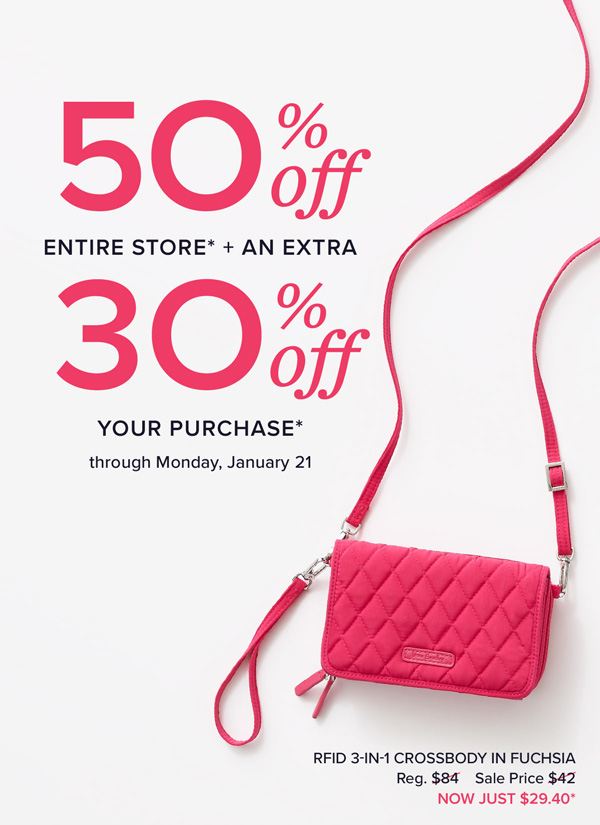 50% off entire store and an extra 30% off your purchase. Vera Bradley Outlet e8bc04970ce88
