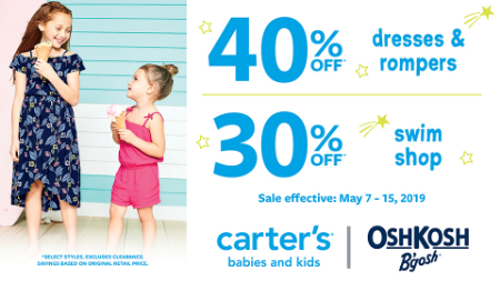 1b128a4e67c at Carter's Osh Kosh. 40% off dresses & rompers.