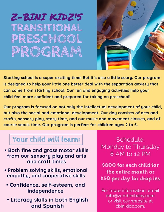 South Bay Galleria ::: Transitional Preschool Program ::: Z-Bini Kidz