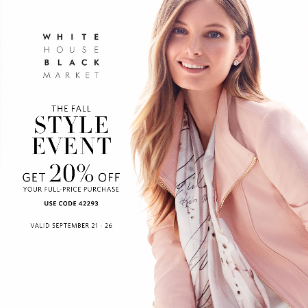 White House Black Market's Fall Style Event: 20% Off Full-Price Purchase