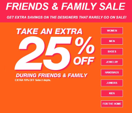 Extra 25% Off Friends & Family Sale