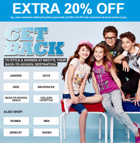 Extra 20% Off Back-to-School Styles at Macy's