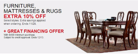 Extra 10% Off Furniture, Mattresses & Rugs