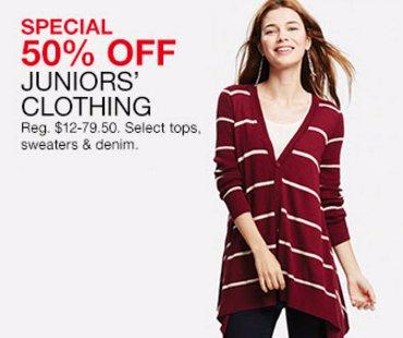 50% Off Juniors' Clothing