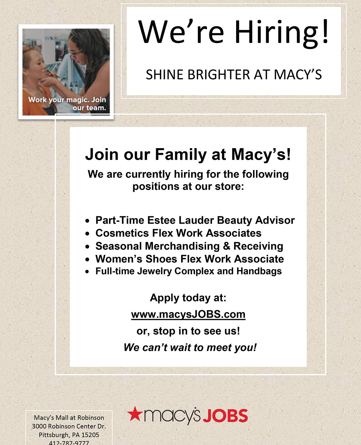 Www Macys Jobs Com macy s hiring event shop harrisburg mall. macy s ...