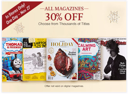 30% Off All Magazines