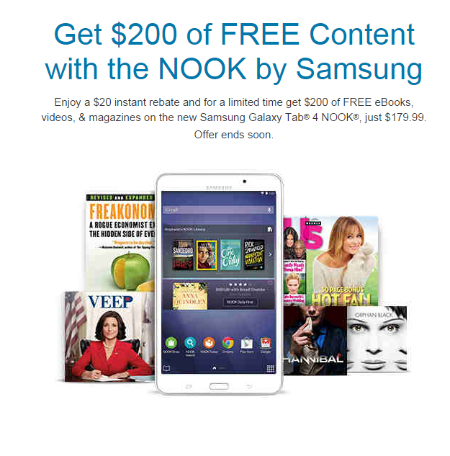 Get $200 of Free Content with the Samsung Galaxy Tab 4 NOOK at Barnes & Noble