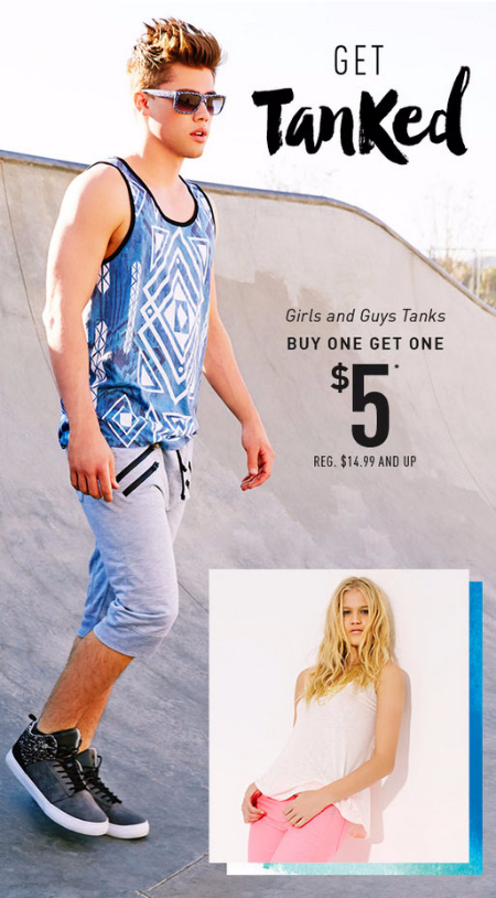 BOGO $5 Girls & Guys Tanks at rue21