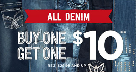 All Denim BOGO For $10 at rue21