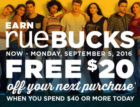 Earn rueBUCKS
