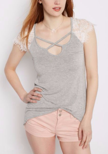 Heather Gray Lace Cross-Strap Tee