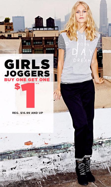 BOGO $1 Girls Joggers at rue21