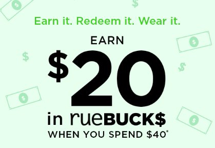 rue21 | Earn $20 in rueBUCKS When You Spend $40