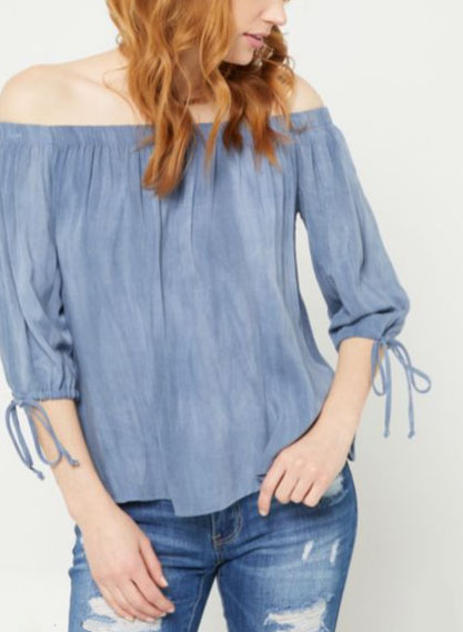 abbe94715aada Surprise Marketplace     Navy Washed Off The Shoulder Top     rue21
