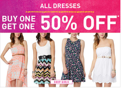 BOGO 50% Off All Dresses at rue21